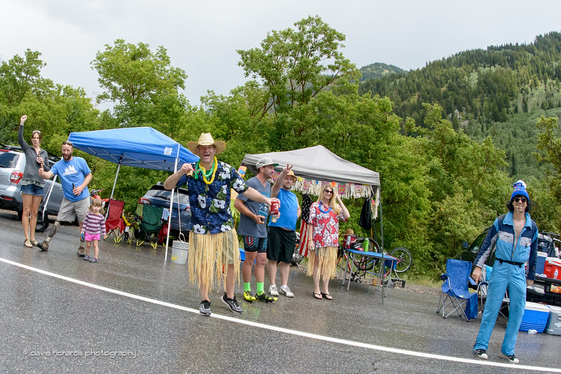 Crazy fans line the section known as Tanner's Flat on the steep climb up Little Cottonwood Canyon to the finish line at Snowbird Ski Resort. Stage 6, 2016 Tour of Utah. Photo by Dave Richards, daverphoto.com