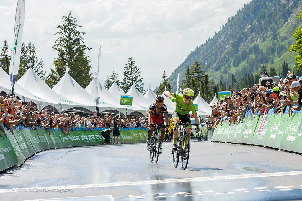 Andrew Talansky (Cannondale Drapac) shakes his fist in victory after beating Atapuma (BMC Racing) to the line to win Stage 6, 2016 Tour of Utah. Photo by Dave Richards, daverphoto.com