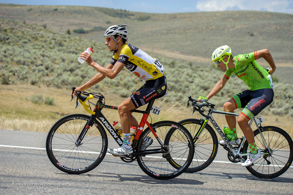 Morton (Jelly Belly) adn Talansky (Cannondale Drapac) leave the climb past Brown's Canyon on the approach to Park City, Utah. Stage 6, 2016 Tour of Utah. Photo by Dave Richards, daverphoto.com