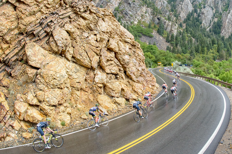 Riders face very slick tarmac while descending Big Cottonwood Canyon in the rain. Stage 6, 2016 Tour of Utah. Photo by Dave Richards, daverphoto.com