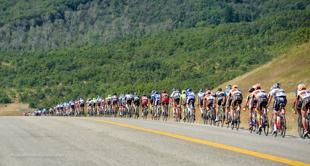 The peloton stretches out on the descent from Trappers Loop. Stage 6, 2016 Tour of Utah. Photo by Dave Richards, daverphoto.com