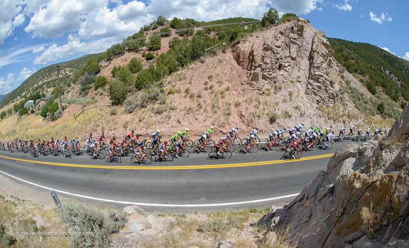 The peloton is chasing hard past rock formations near Echo, Utah. Stage 6, 2016 Tour of Utah. Photo by Dave Richards, daverphoto.com