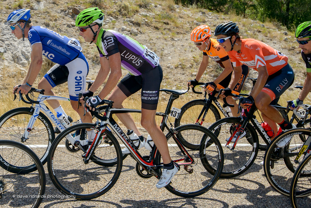 Tanner Putt (UHC) and Chris Horner (Lupus) lead a group on the climb to Henerfer, Utah. Stage 6, 2016 Tour of Utah. Photo by Dave Richards, daverphoto.com