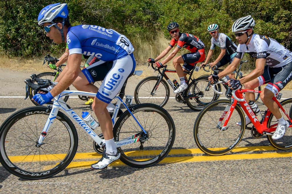 Zabel (BMC Racing) and Smith (One Pro Cycling) keep a watchful eye on Reijnen (Trek Segafredo). Stage 6, 2016 Tour of Utah. Photo by Dave Richards, daverphoto.com