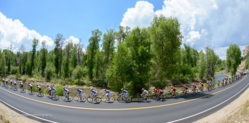 Scenic vistas greet the peloton along the Upper Provo River above Woodland, Utah on the way to Wolf Creek Ranch. Stage 7, 2016 Larry H. Miller Tour of Utah. Photo by Dave Richards, daverphoto.com