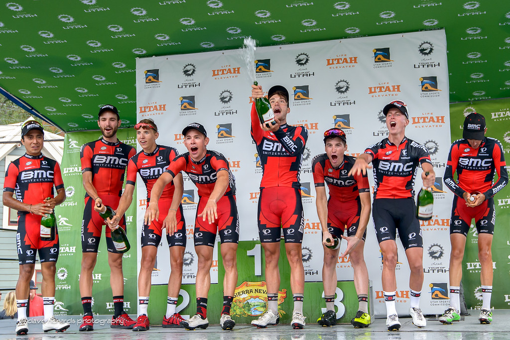 The champagne is spraying as the BMC Racing Team celebrate the overall best team win at the 2016 Larry H. Miller Tour of Utah. Photo by Dave Richards, daverphoto.com