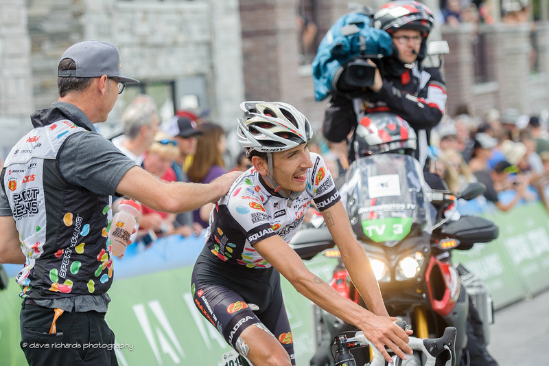 Jelly Belly soigneur  gives Lachlan Morton (Jelly Belly Maxxis) a well deserved pat on the back after winning Stage 7, 2016 Larry H. Miller Tour of Utah. Photo by Dave Richards, daverphoto.com