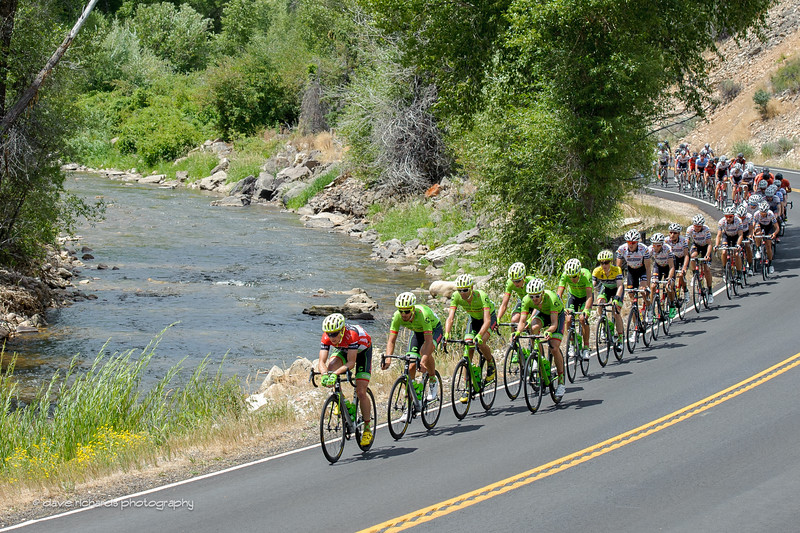 The peloton chases the breakaway as they roll along the Upper Provo River. Stage 7, 2016 Larry H. Miller Tour of Utah. Photo by Dave Richards, daverphoto.com
