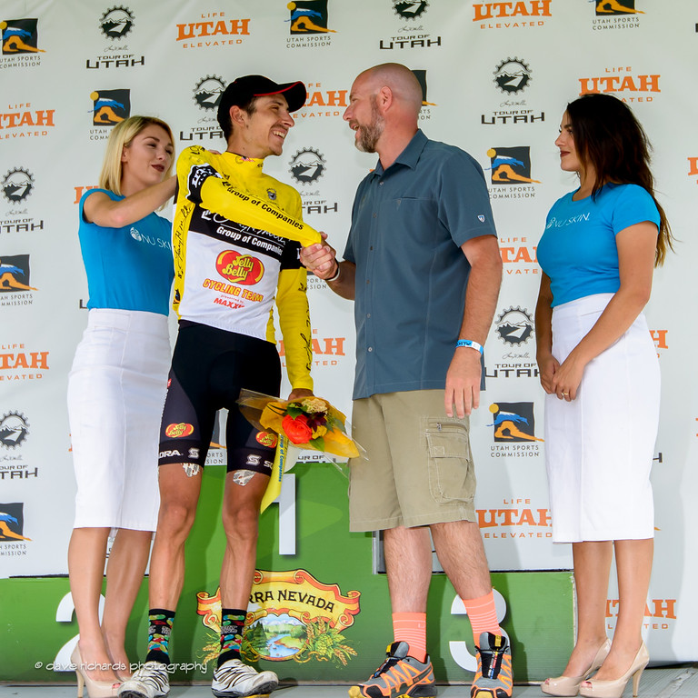 Race Chairman Steve Miller congratulates Lachlan Morton (Jelly Belly Maxxis) for his overall race win. Stage 7, 2016 Larry H. Miller Tour of Utah. Photo by Dave Richards, daverphoto.com
