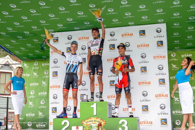 Stage 7 winners L-R: 2nd place Adrien Costa (Axeon Hagens Berman) 1st place Lachlan Morton (Jelly Belly Maxxis) 3rd place Darwin Atapuma (BMC Racing). 2016 Larry H. Miller Tour of Utah. Photo by Dave Richards, daverphoto.com