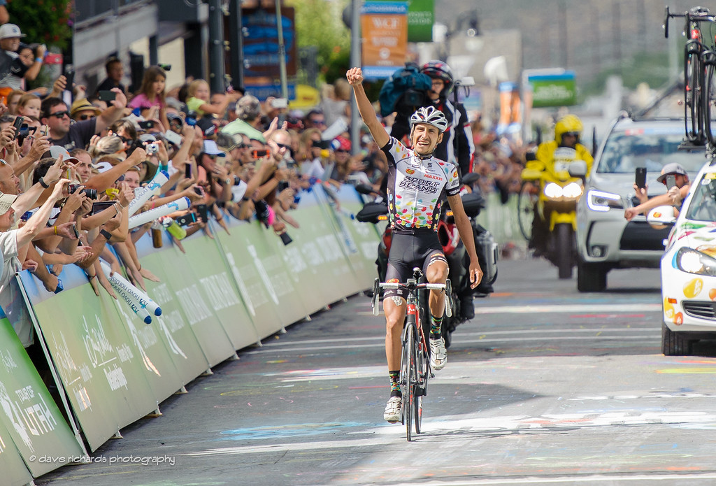 Lachlan Morton (Jelly Belly Maxxis) celebrates the win on Stage 7, 2016 Larry H. Miller Tour of Utah. Photo by Dave Richards, daverphoto.com