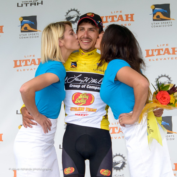 The winner Lachlan Morton (Jelly Belly Maxxis) gets the podium presenters kisses. Stage 7, 2016 Larry H. Miller Tour of Utah. Photo by Dave Richards, daverphoto.com