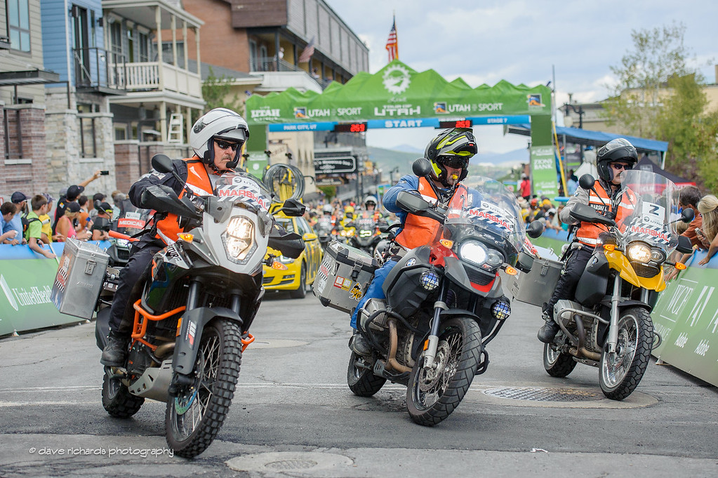 The moto marshalls are on course. Stage 7, 2016 Larry H. Miller Tour of Utah. Photo by Dave Richards, daverphoto.com