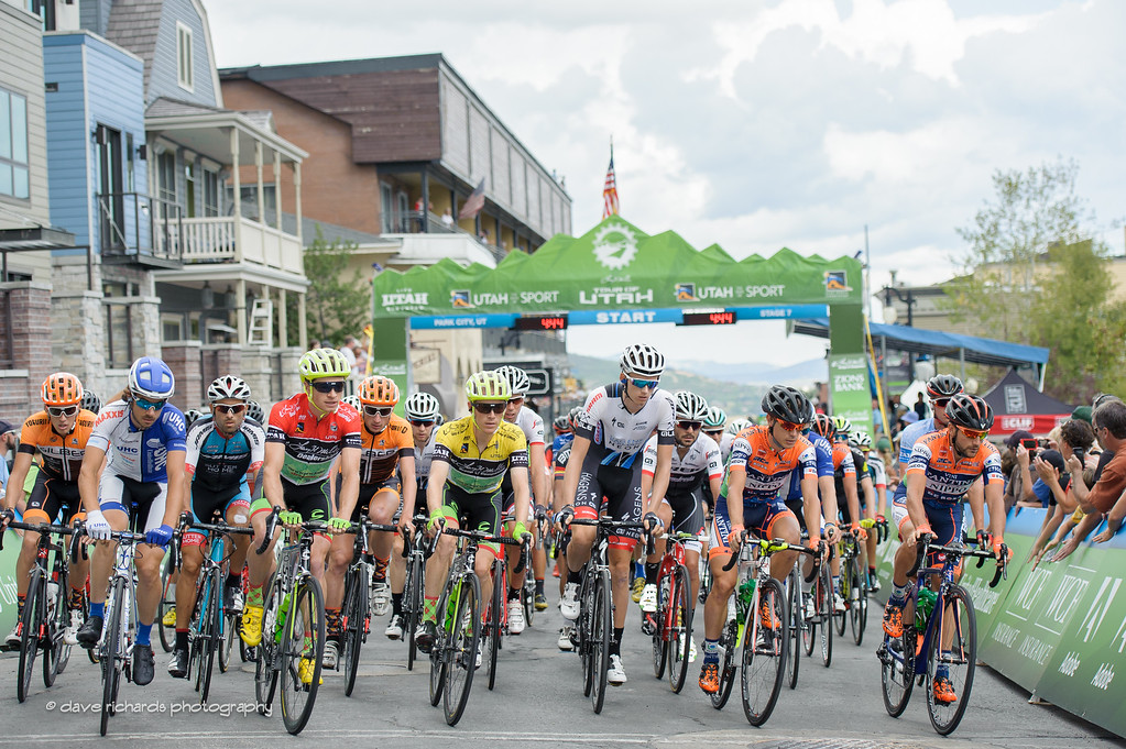 And they're off!  Stage 7, 2016 Larry H. Miller Tour of Utah. Photo by Dave Richards, daverphoto.com