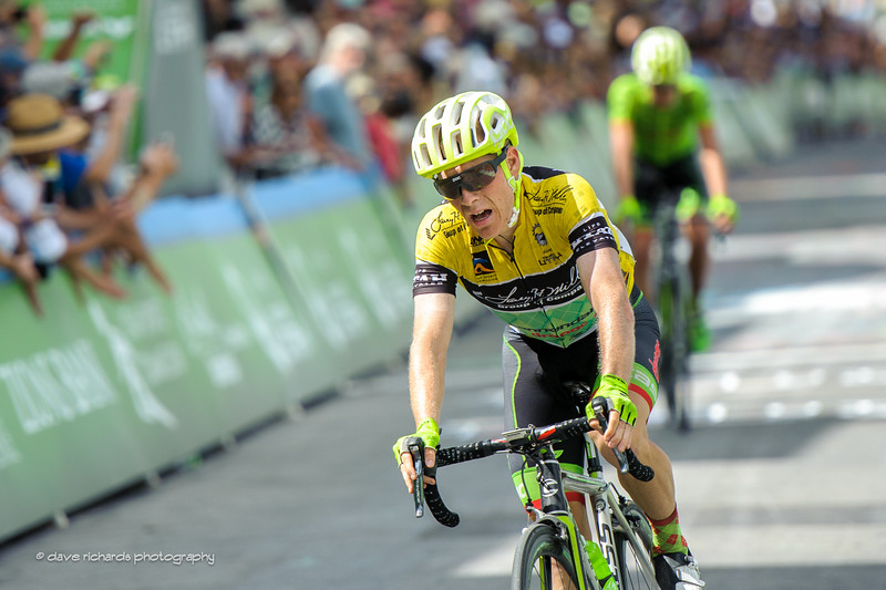 Andrew Talansky (Cannondale Drapac) finishes Stage 7 realizing that he has lost the leader's  yellow jersey. 2016 Larry H. Miller Tour of Utah. Photo by Dave Richards, daverphoto.com