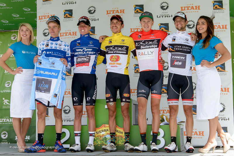 Final jersey winners L-R: King of the Mountains & Best Young Rider Adrien Costa (Axeon Hagens Berman) Fan Favorite TJ Eisnhart (BMC Racing) Yellow jersey & overall winner Lachlan Morton (Jelly Belly Maxxis) Most Aggressive Rider (Rob Britton (Rally Cycling) Sprints Leader Kiel Reijnen (Trek Segafredo). Stage 7, 2016 Larry H. Miller Tour of Utah. Photo by Dave Richards, daverphoto.com