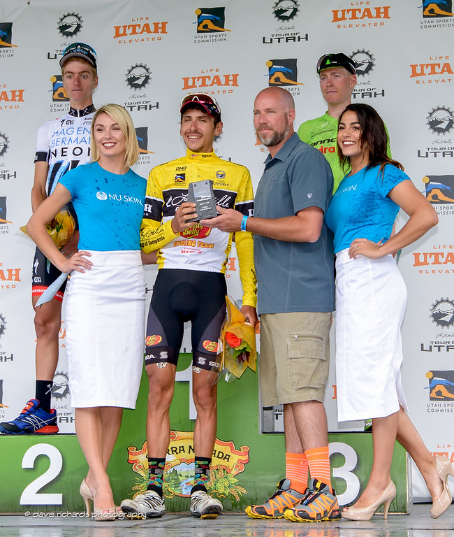 Race Chairman Steve Miller presents Lachlan Morton (Jelly Belly Maxxis) with the race trophy commorating his win of the  2016 Larry H. Miller Tour of Utah. Photo by Dave Richards, daverphoto.com