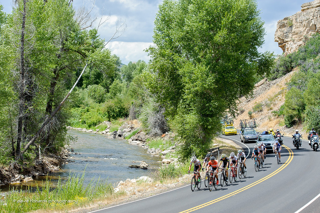 The breakaway rolls along the Upper Provo River above Woodland, Utah. Stage 7, 2016 Larry H. Miller Tour of Utah. Photo by Dave Richards, daverphoto.com