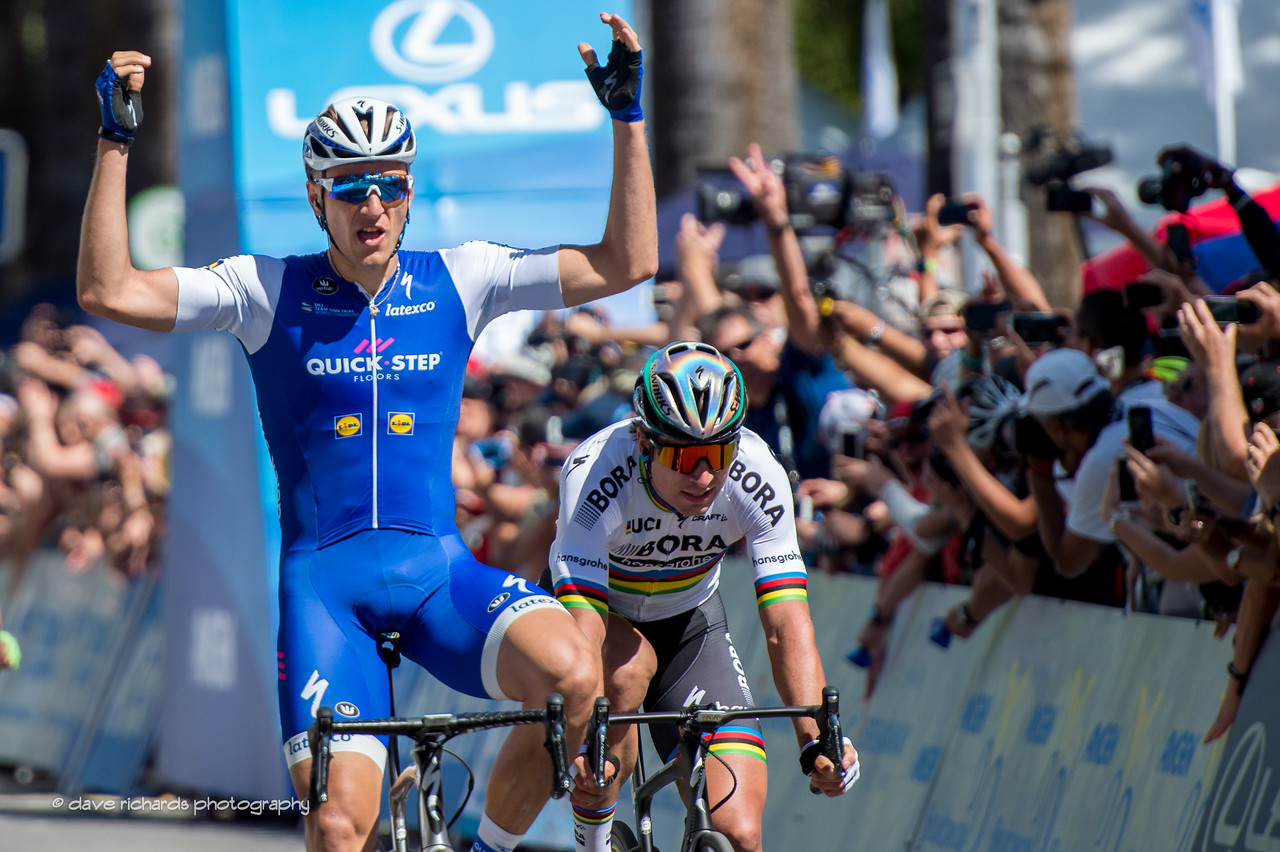 Marcel Kittel (Quick-Step Floors) beats Peter Sagan (Bora-Hansgrohe) for the win on Men's Stage 1, 2017 Amgen Tour of California (Photo by Dave Richards, daverphoto.com)