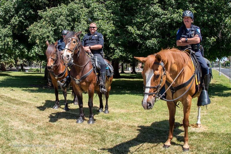 Who's faster horse police or the peloton? Men's Stage 1, 2017 Amgen Tour of California (Photo by Dave Richards, daverphoto.com)