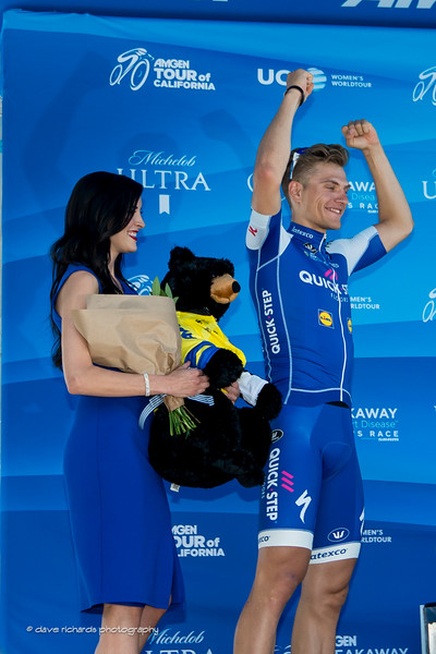 It's a study in blue as Marcel Kittel (Quick-Step Floors) stands atop the podium on Men's Stage 1, 2017 Amgen Tour of California (Photo by Dave Richards, daverphoto.com)