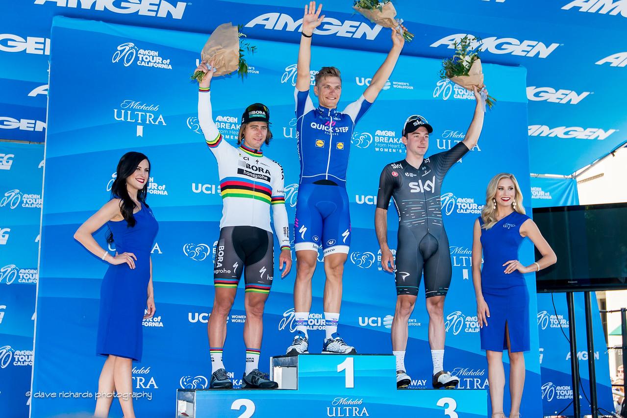 Men's Stage 1 podium awards (L-R) 2nd place- Peter Sagan (Bora-Hansgrohe)  1st place- Marcel Kittel (Quick-Step Floors)  3rd place- Elia Viviani (Team Sky) 2017 Amgen Tour of California (Photo by Dave Richards, daverphoto.com)