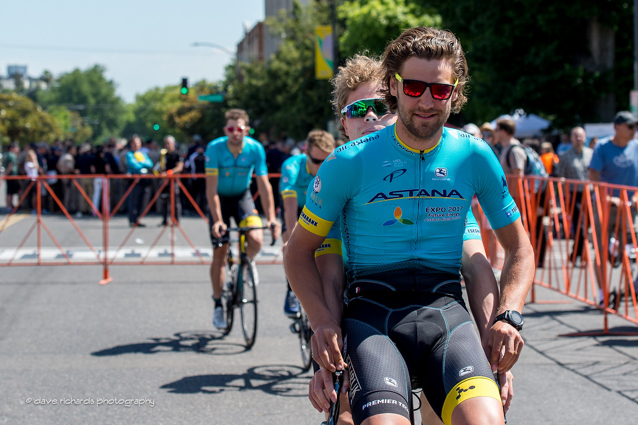 Astana riders double up on the way to the sign-in for Men's Stage 2, 2017 Amgen Tour of California (Photo by Dave Richards, daverphoto.com)