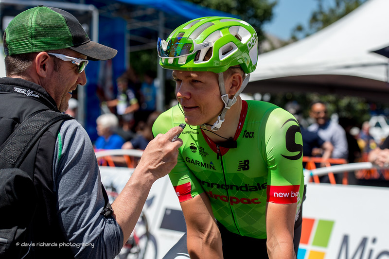 A quick interview with Tom Skujins (Cannondale-Drapac Pro Cycling) before Men's Stage 2, 2017 Amgen Tour of California  Unfortunately Tom suffered a brutal crash during that stage and had to drop out of the race. (Photo by Dave Richards, daverphoto.com)