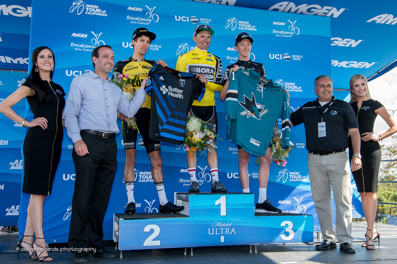 Men's Stage 2 podium: 2nd place- Bennett (Team Lotto NL-Jumbo) 1st place-Majka (Bora-Handsgrohe) 3rd place- Ian Boswell (Team Sky), 2017 Amgen Tour of California (Photo by Dave Richards, daverphoto.com)
