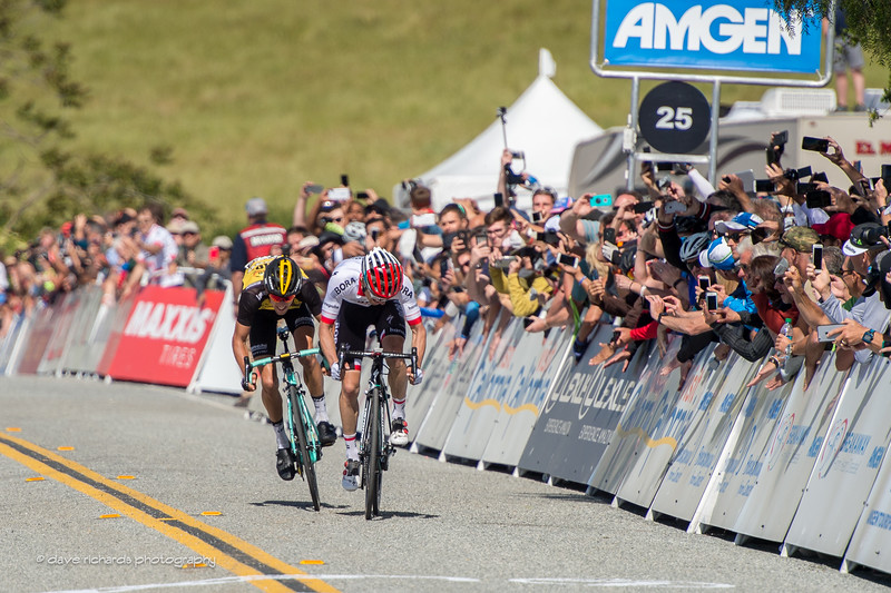Majka (Bora-Handsgrohe) and Bennett (Team Lotto NL-Jumbo) battle it out with a finish sprint for Men's Stage 2, 2017 Amgen Tour of California (Photo by Dave Richards, daverphoto.com)