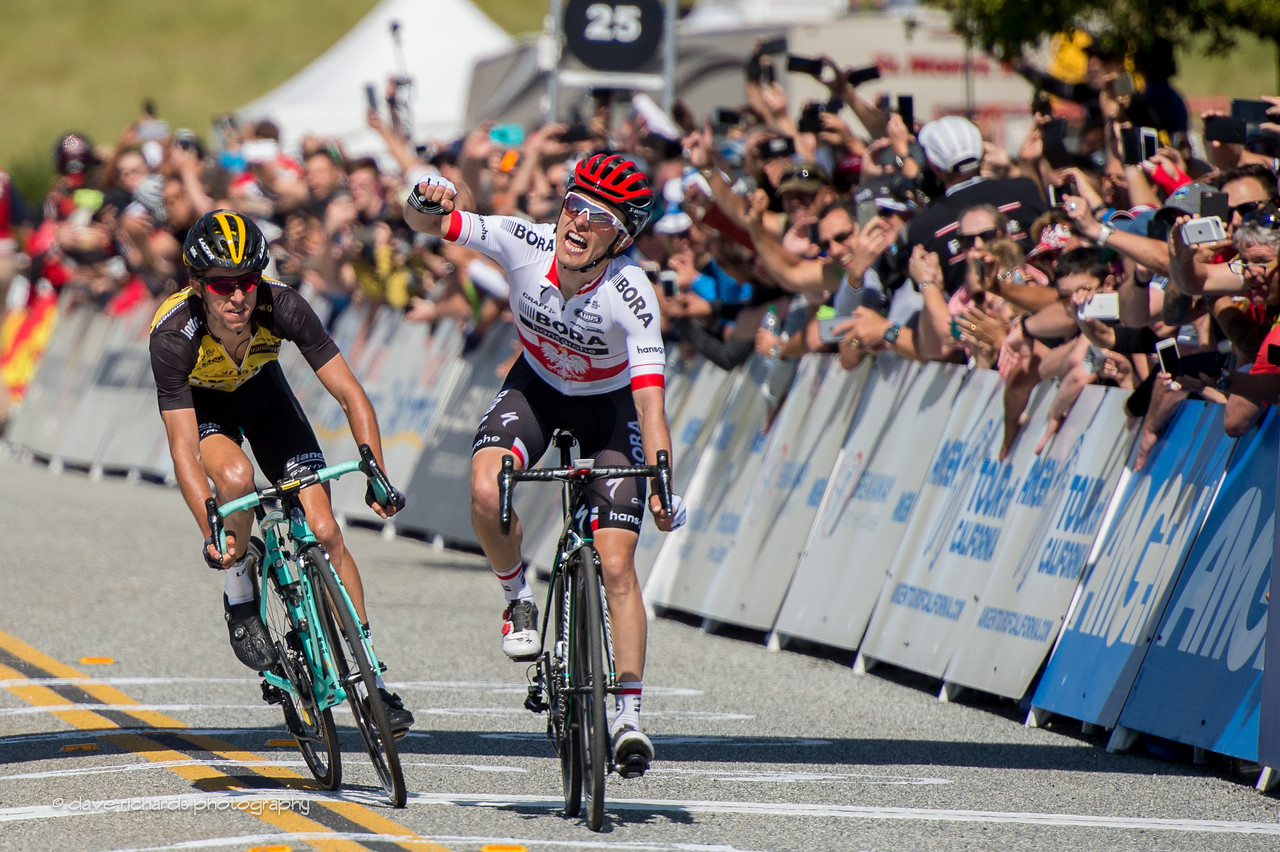 Rafal Majka (Bora-Handsgrohe) takes the win over George Bennett (Team Lotto NL-Jumbo) with a finish sprint on Men's Stage 2, 2017 Amgen Tour of California (Photo by Dave Richards, daverphoto.com)