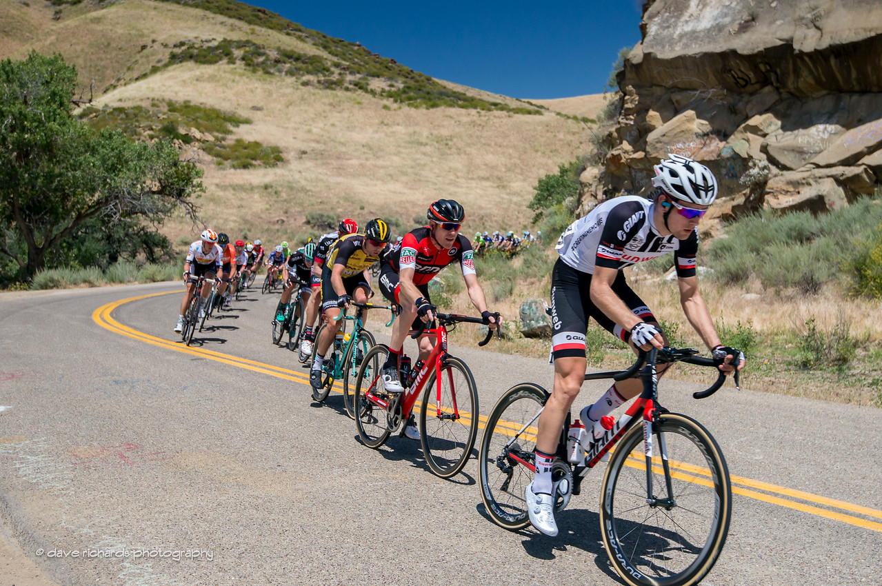 The paceline stretches out on Del Puerto Canyon Road during Men's Stage 2, 2017 Amgen Tour of California (Photo by Dave Richards, daverphoto.com)