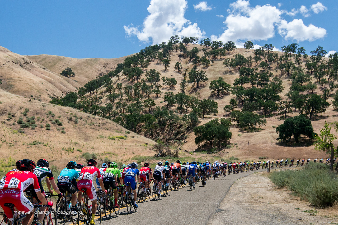 The peloton stretches out like a rubber band racing up Del Puerto Canyon Road during Men's Stage 2, 2017 Amgen Tour of California (Photo by Dave Richards, daverphoto.com)