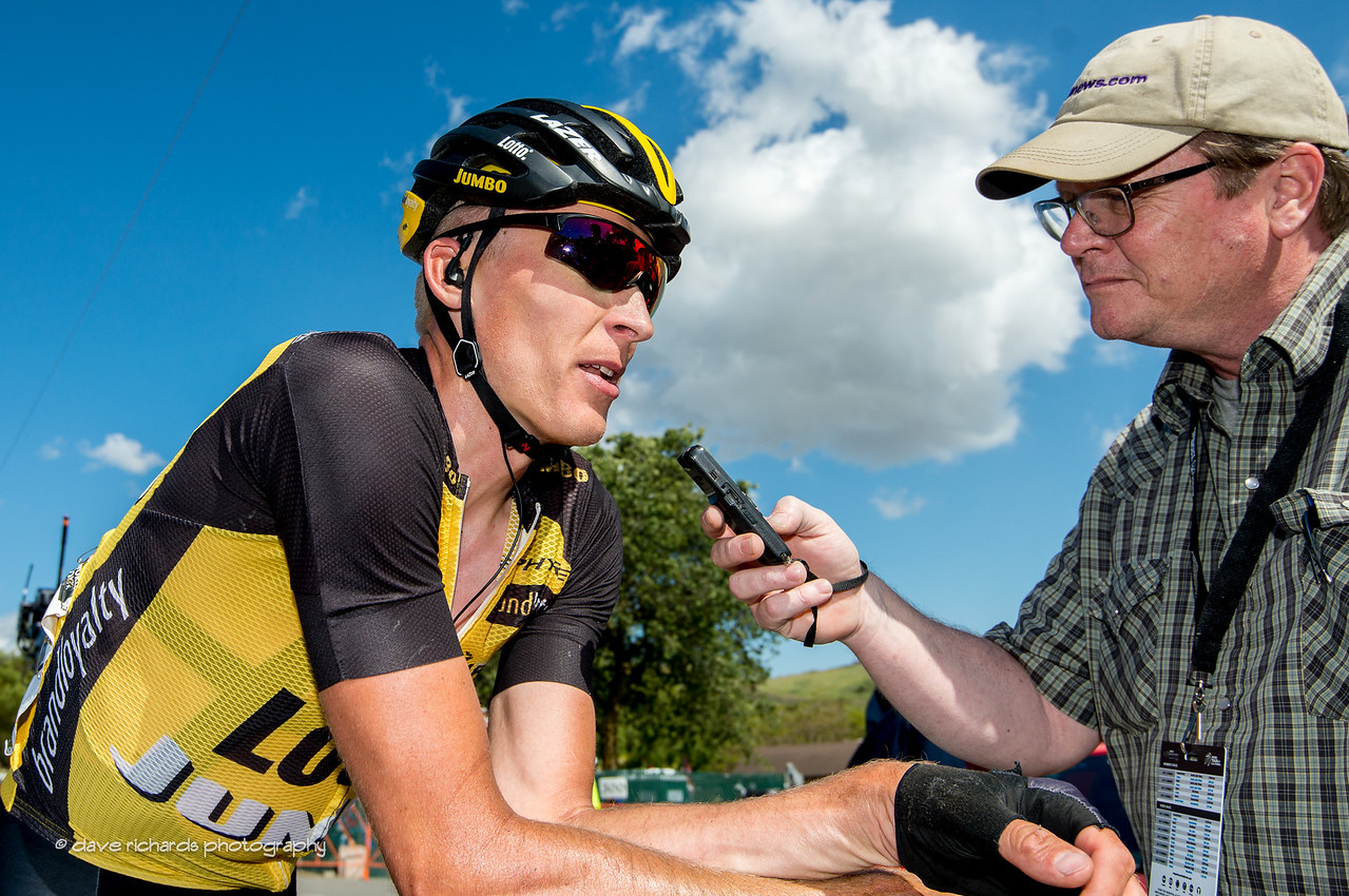 Robert Gesink (Team Lotto NL-Jumbo) gives a post race interview with Pat Malach (Cycling News) after Men's Stage 2, 2017 Amgen Tour of California (Photo by Dave Richards, daverphoto.com)