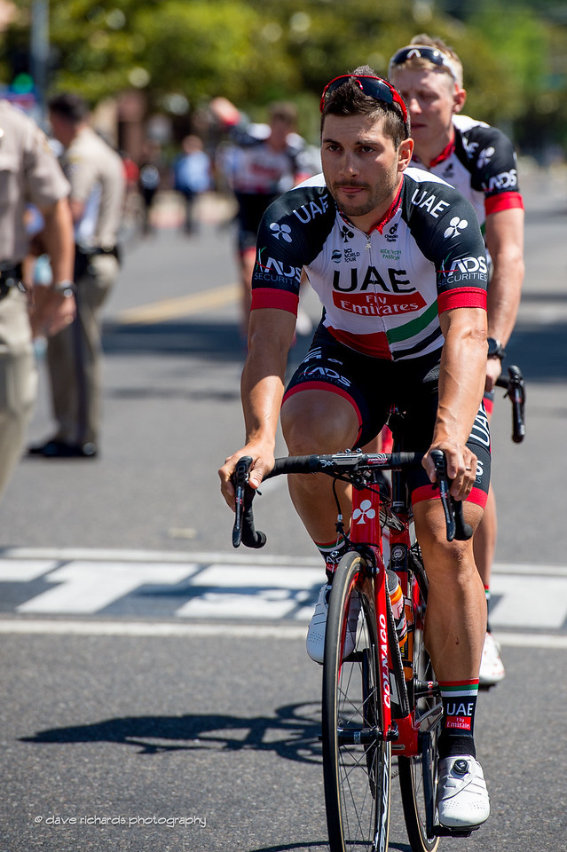 Riders from the newly formed UAE Emirates team  are a long way from home on Men's Stage 2, 2017 Amgen Tour of California (Photo by Dave Richards, daverphoto.com)