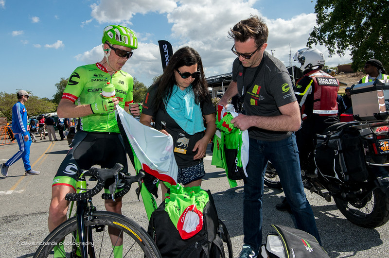 Andrew Talansky (Cannondale-Drapac Pro Cycling) sorts out his gear after finishing Men's Stage 2, 2017 Amgen Tour of California (Photo by Dave Richards, daverphoto.com)