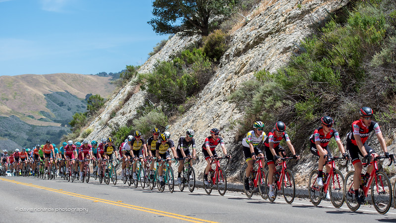 The peloton is strung out as it crests a steep hill. Men's Stage 3, 2017 Amgen Tour of California (Photo by Dave Richards, daverphoto.com)