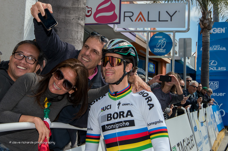Peter Sagan (Bora-Hansgrohe) poses for a fan's selfie, Men's Stage 3, 2017 Amgen Tour of California (Photo by Dave Richards, daverphoto.com)