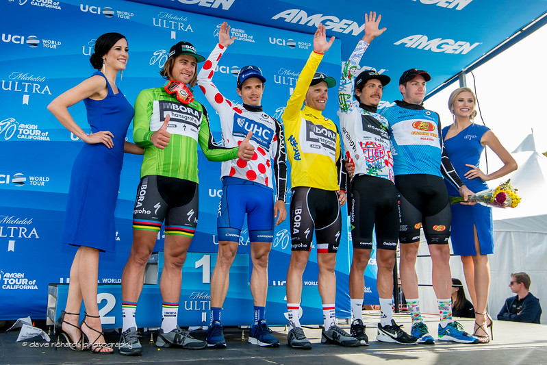 Leaders Jerseys after Men's Stage 3, 2017 Amgen Tour of California (Photo by Dave Richards, daverphoto.com)