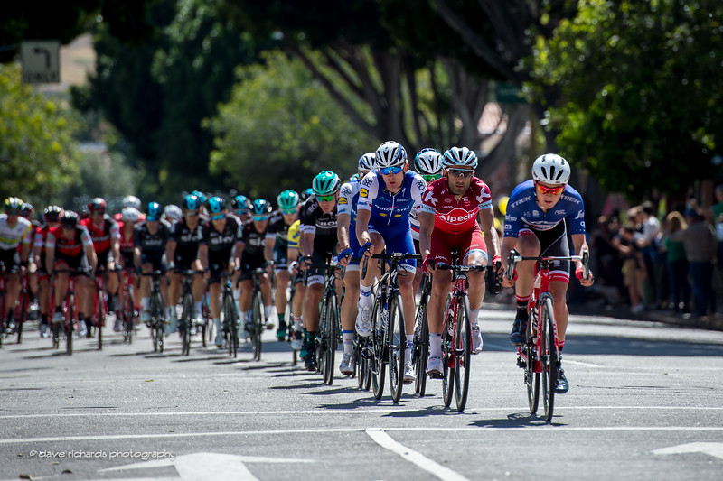 The peloton is greeted by  big  crowds of fans as it rolls thru San Luis Obispo towards the end of Men's Stage 3, 2017 Amgen Tour of California (Photo by Dave Richards, daverphoto.com)