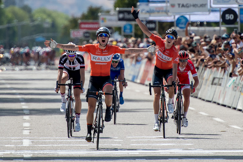 Evan Huffman (Rally Cycling) takes the win as his teammate Rob Brittten cheers him on while Brittern himself takes 2nd place. Men's Stage 4, 2017 Amgen Tour of California (Photo by Dave Richards, daverphoto.com)