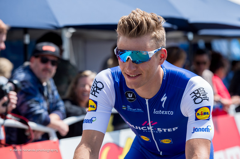 Top sprinter Marcel Kittel (Quick-Step Floors) rolls to the start line of Men's Stage 4, 2017 Amgen Tour of California (Photo by Dave Richards, daverphoto.com)