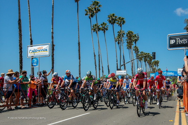 Under sunny skies and sounds of surf crashing on the beach in Santa Barbara, Men's Stage 4 gets underway at the 2017 Amgen Tour of California (Photo by Dave Richards, daverphoto.com)