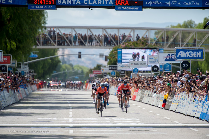 The breakaway stays away as they sprint fothe stage win on Men's Stage 4, 2017 Amgen Tour of California (Photo by Dave Richards, daverphoto.com)