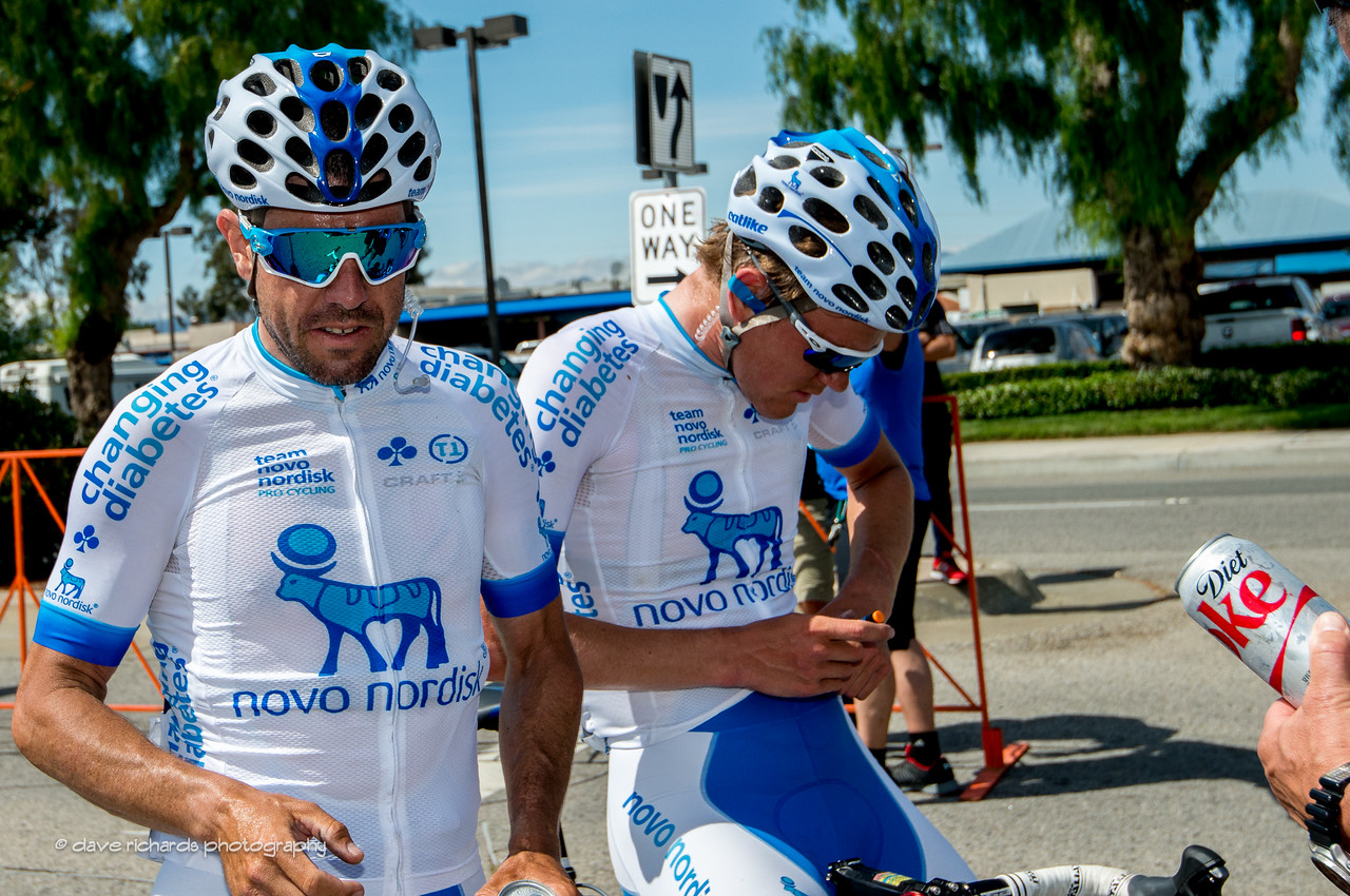Diet Coke for diabetics?? Javier Megias and Joonas Henttala riders on the all diabetic team Novo Nordisk recover after Men's Stage 4, 2017 Amgen Tour of California (Photo by Dave Richards, daverphoto.com)
