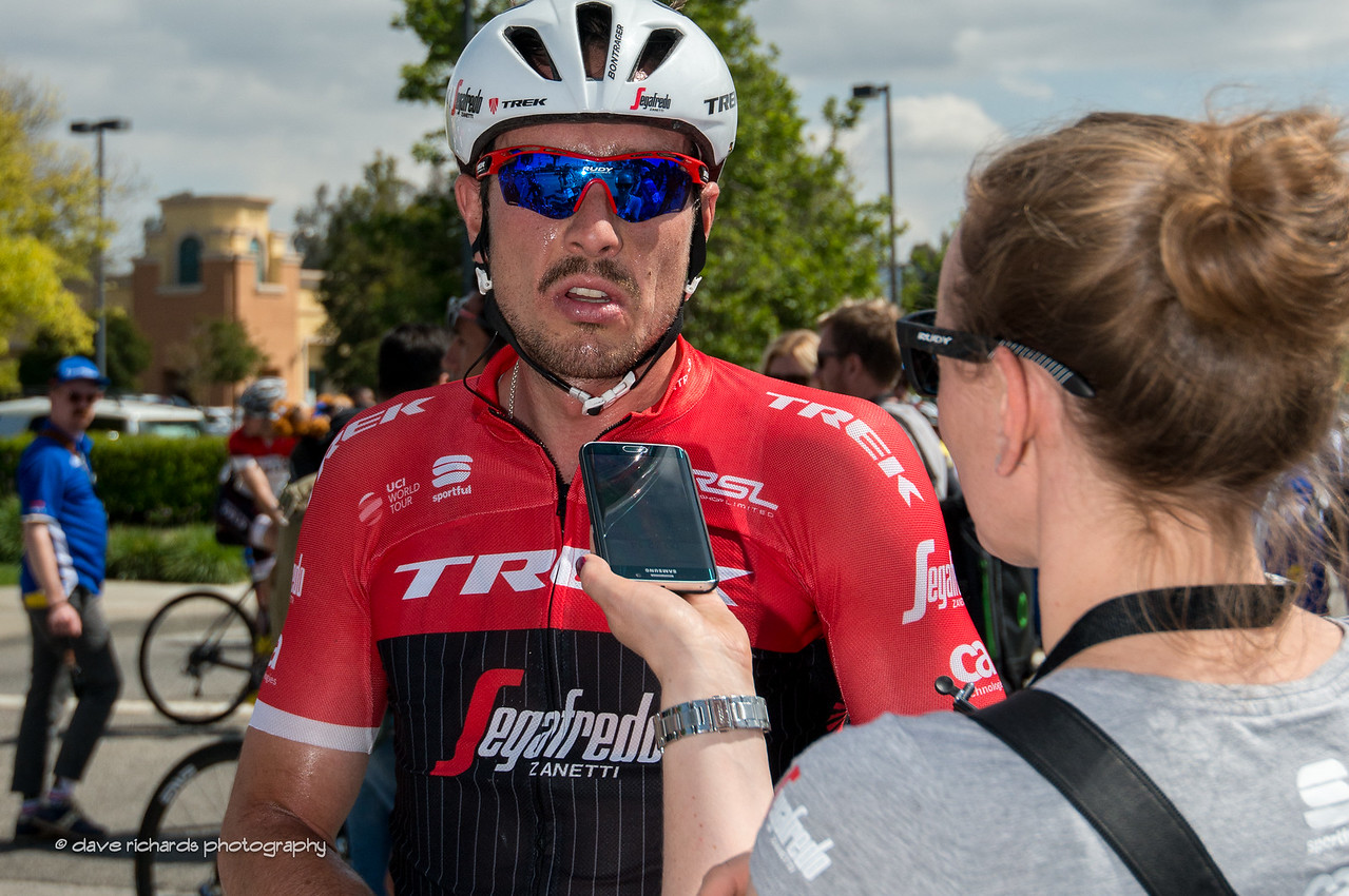 John Degenkolb (Trek-Segafredo), hot & exhausted, still has enough left in the tank for a post race interview. Men's Stage 4, 2017 Amgen Tour of California (Photo by Dave Richards, daverphoto.com)
