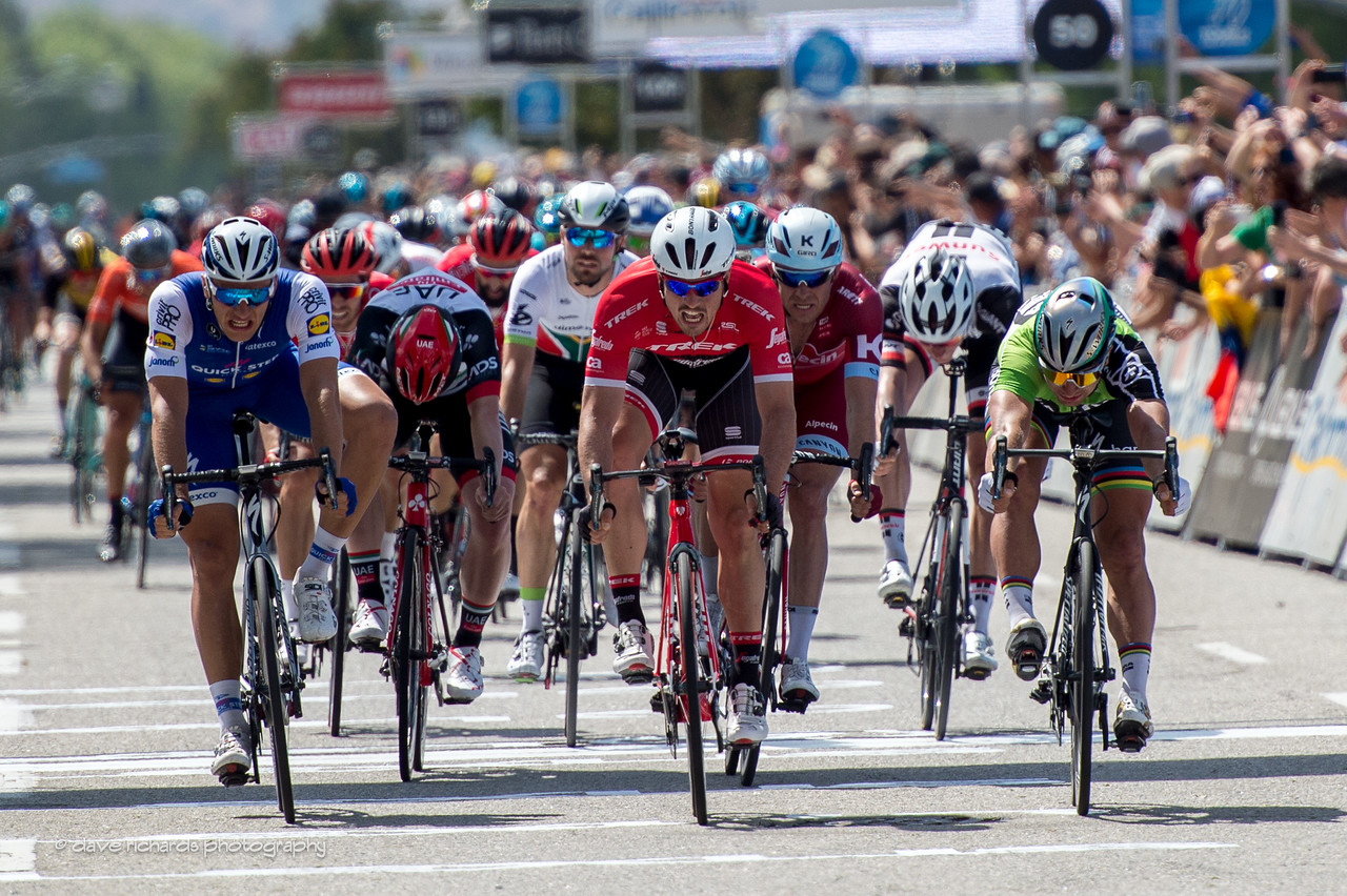 World Tour Hired guns:  (L-R) Kittel, Dekenkolb, Kristoff & Sagan. These are the top sprinters in the world and were outsmarted by the upstart Continental team riders Rally Cycling during  Men's Stage 4, 2017 Amgen Tour of California (Photo by Dave Richards, daverphoto.com)) Kittel, Dekenkolb, Kristoff & Sagan Men's Stage 4, 2017 Amgen Tour of California (Photo by Dave Richards, daverphoto.com)