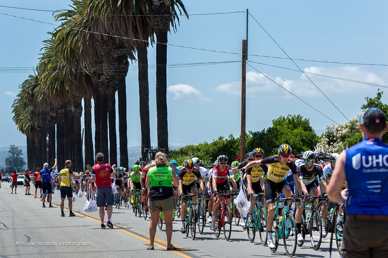 Lotto NL Jumbo rider grabs lunch rolling through the feed zone during Men's Stage 4, 2017 Amgen Tour of California (Photo by Dave Richards, daverphoto.com)