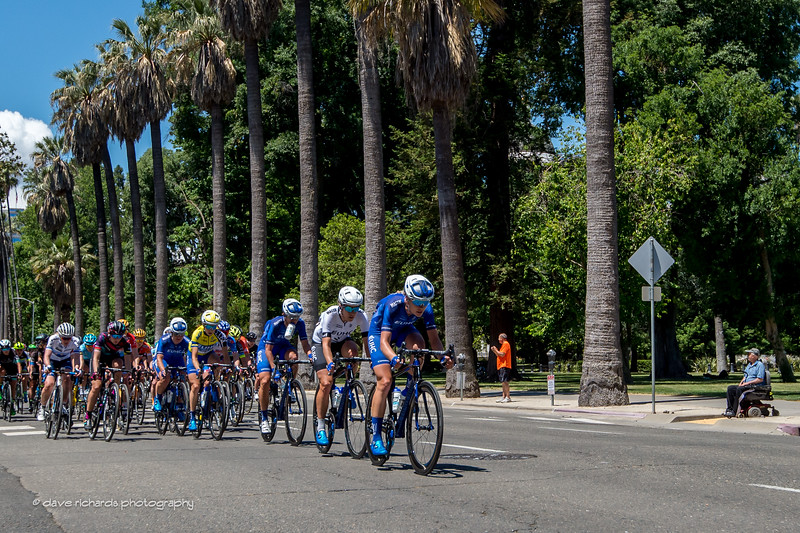 UHC riders drillin' it at the front during the Women's Stage 4 in downtown Sacramento. 2017 Amgen Tour of California (Photo by Dave Richards, daverphoto.com)
