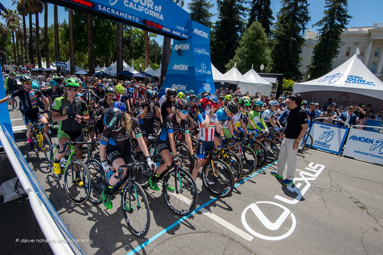 The riders line up for the start of the Women's Stage 4 which featured a fast criterium around the state Capitol grounds in downtown Sacramento. 2017 Amgen Tour of California (Photo by Dave Richards, daverphoto.com)